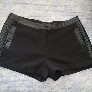 ANGL | Black faux leather trim shorts
